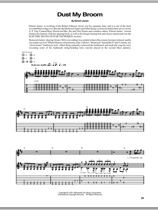 Elmore James Dust My Broom sheet music notes and chords. Download Printable PDF.
