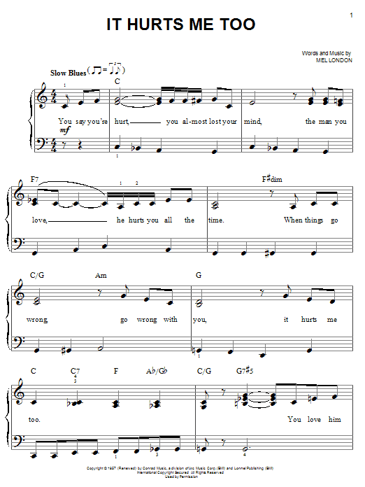 Elmore James It Hurts Me Too sheet music notes and chords. Download Printable PDF.