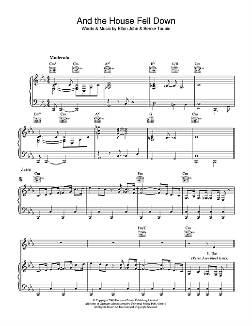 Elton John And The House Fell Down sheet music notes and chords. Download Printable PDF.