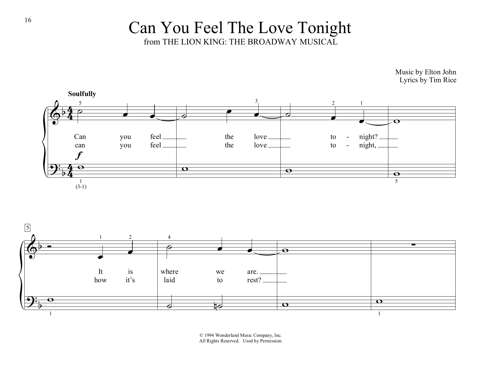 Elton John Can You Feel the Love Tonight (from The Lion King) (arr. Christopher Hussey) sheet music notes and chords. Download Printable PDF.