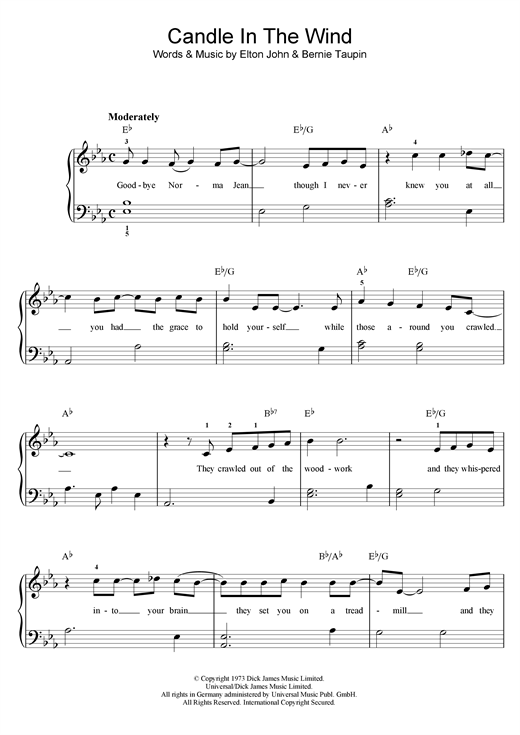 Elton John Candle In The Wind sheet music notes and chords. Download Printable PDF.