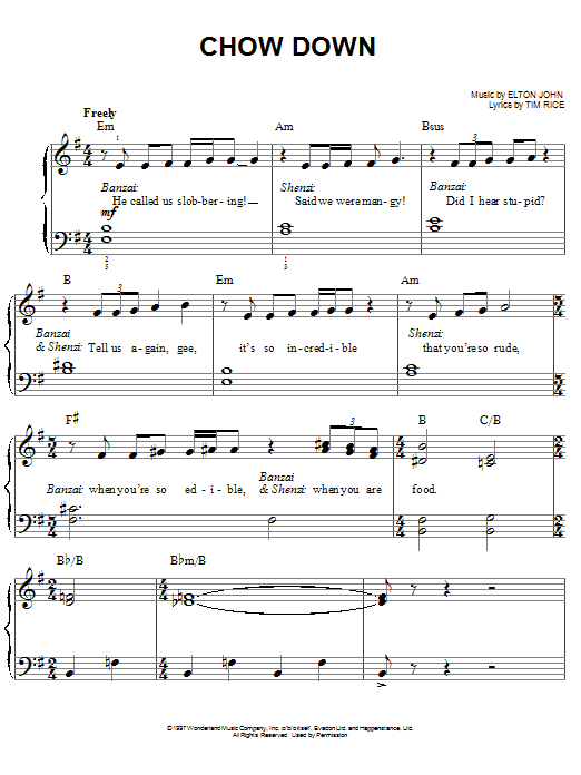 Elton John Chow Down (from The Lion King: Broadway Musical) sheet music notes and chords