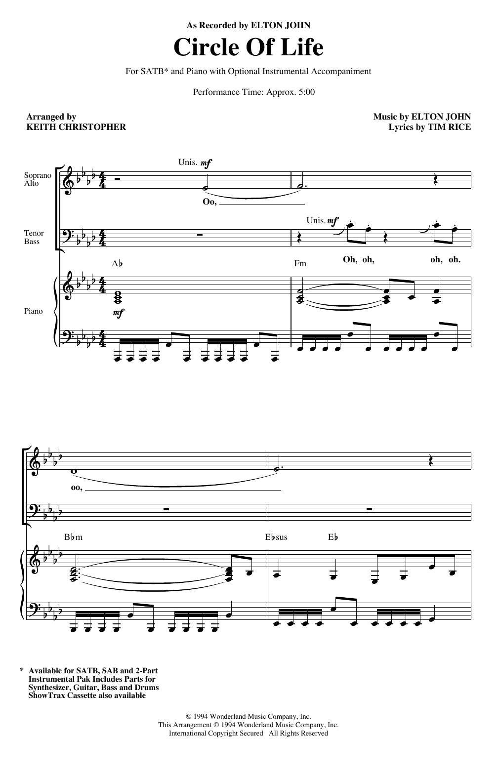 Elton John Circle Of Life (from The Lion King) (arr. Keith Christopher) sheet music notes and chords. Download Printable PDF.