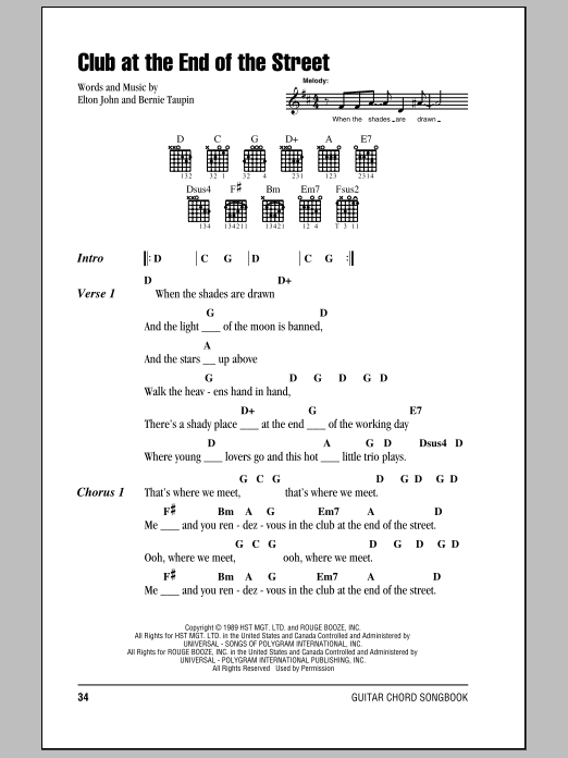 Elton John Club At The End Of The Street sheet music notes and chords. Download Printable PDF.