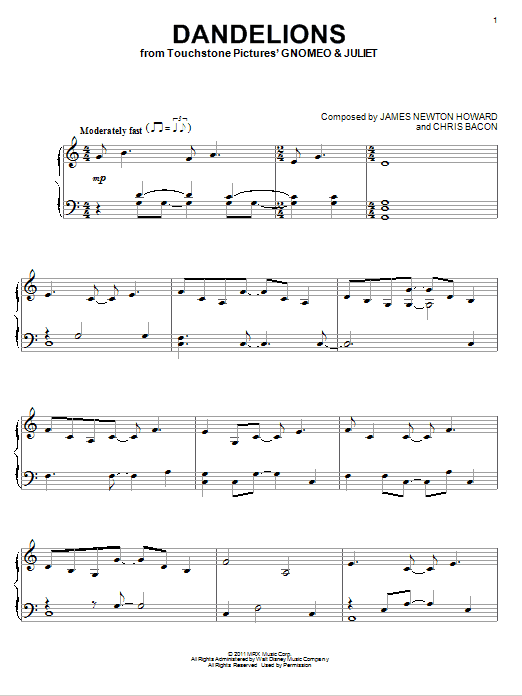 Elton John Dandelions sheet music notes and chords