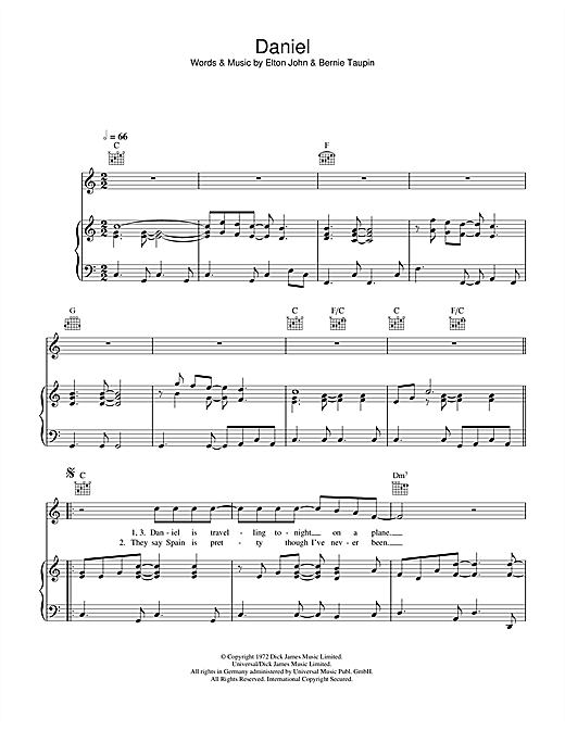 Elton John Daniel sheet music notes and chords. Download Printable PDF.