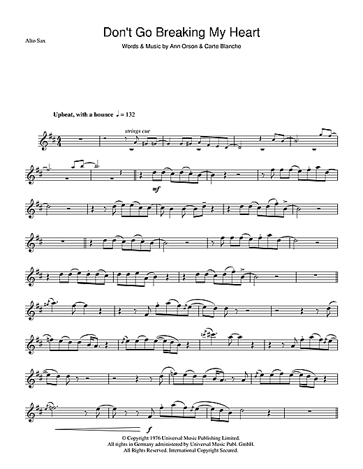Elton John Don't Go Breaking My Heart sheet music notes and chords. Download Printable PDF.
