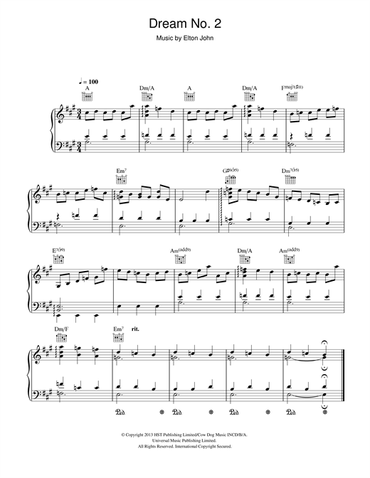 Elton John Dream #2 (Instrumental) sheet music notes and chords. Download Printable PDF.