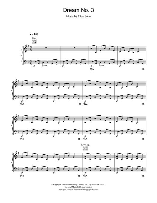 Elton John Dream #3 (Instrumental) sheet music notes and chords. Download Printable PDF.