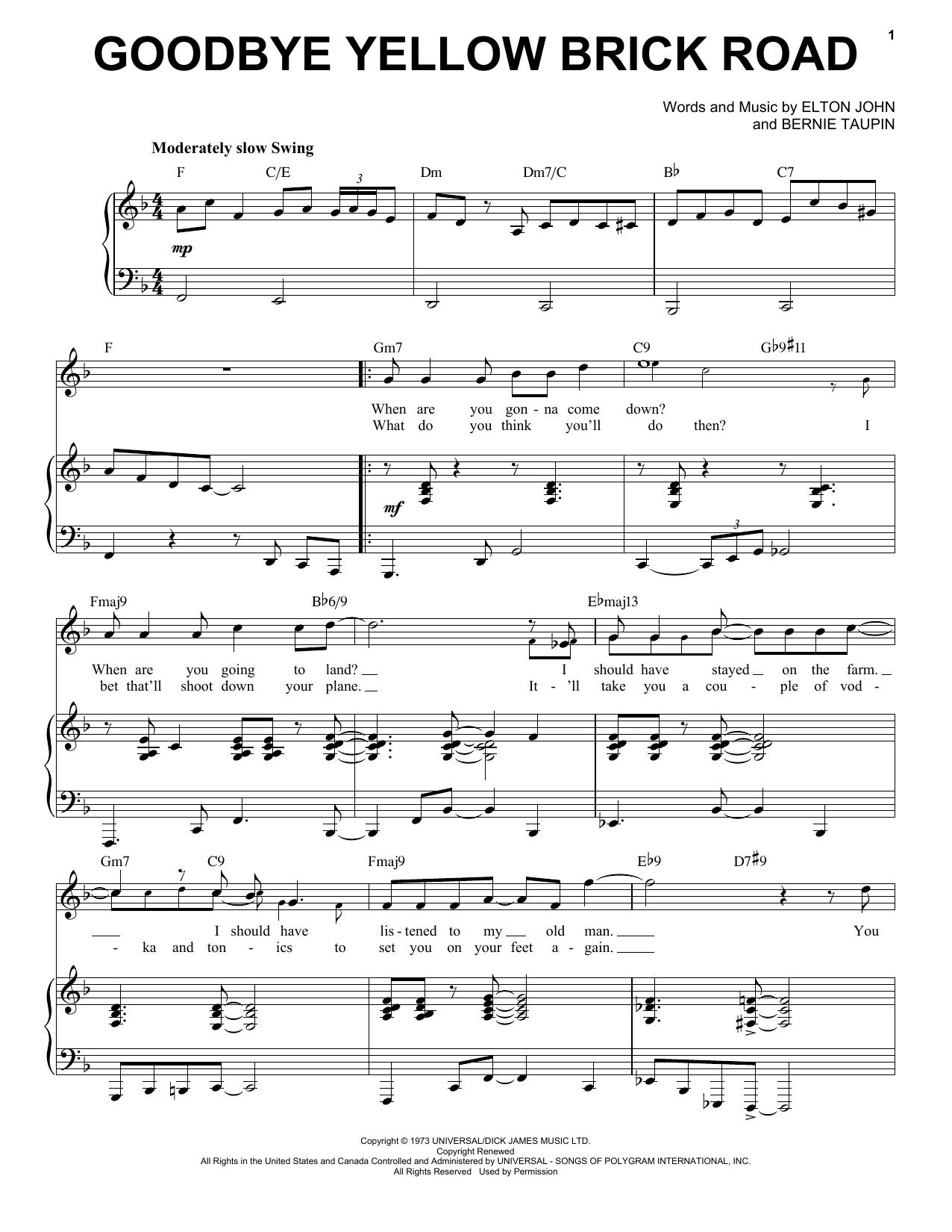Elton John Goodbye Yellow Brick Road [Jazz version] (arr. Brent Edstrom) sheet music notes and chords. Download Printable PDF.