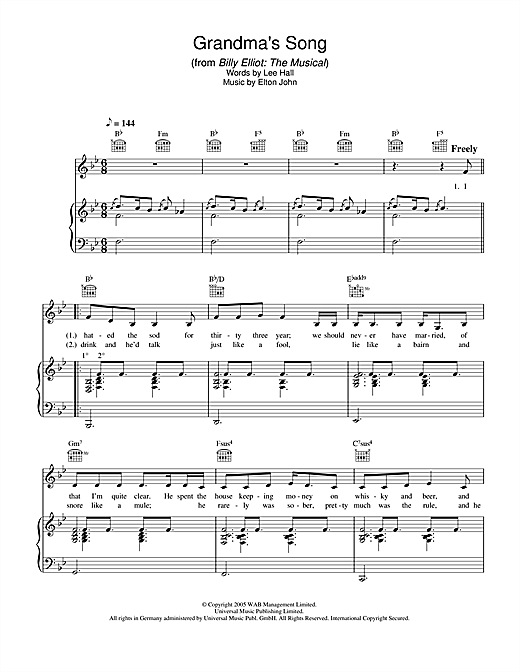 Elton John Grandma's Song (from Billy Elliot: The Musical) sheet music notes and chords