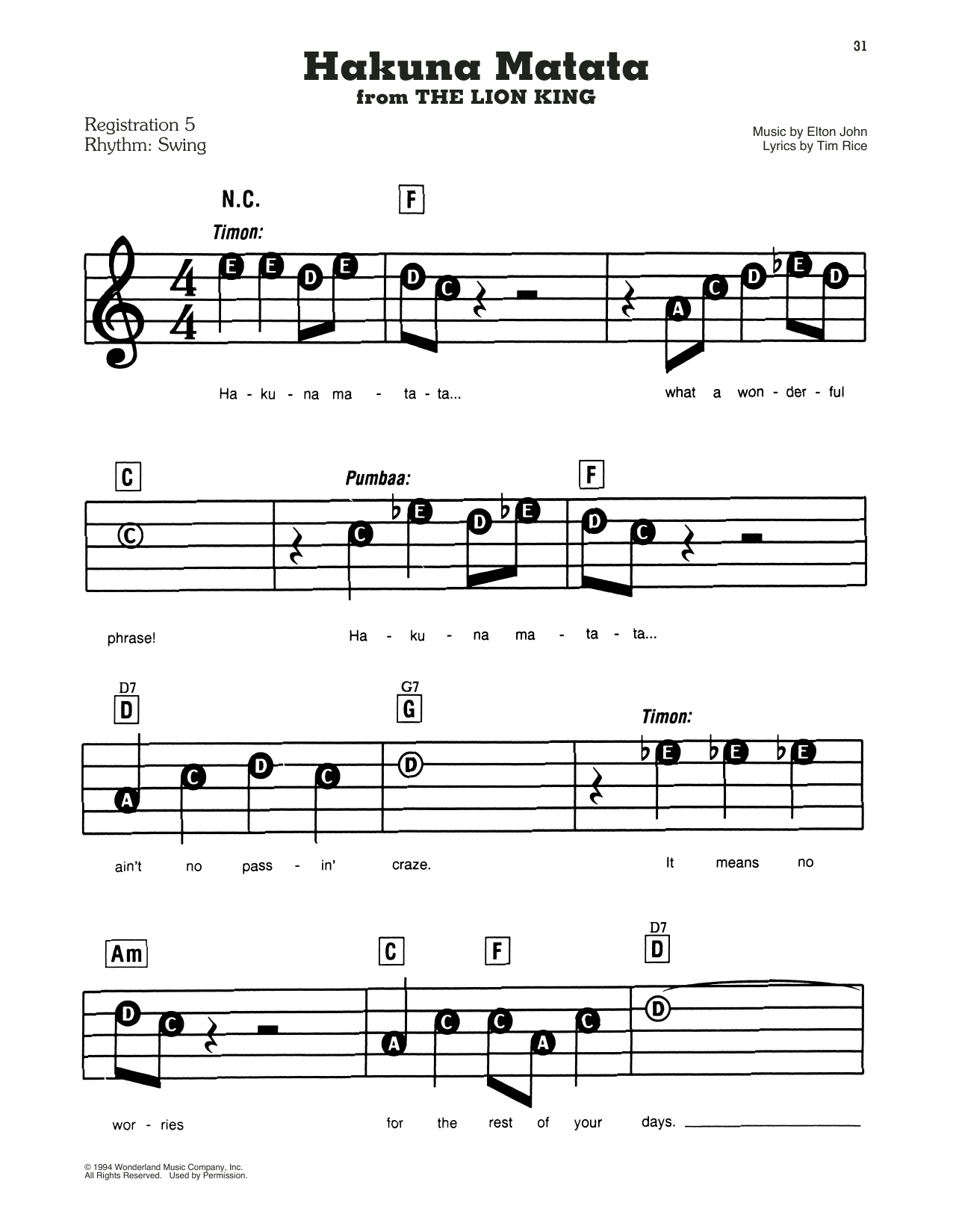 Elton John Hakuna Matata (from Disney's The Lion King) sheet music notes and chords. Download Printable PDF.