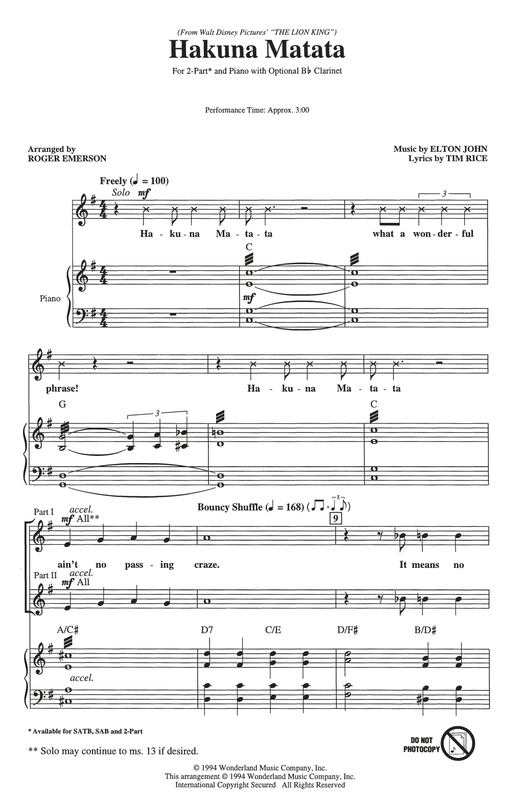 Elton John Hakuna Matata (from Disney's The Lion King) (arr. Roger Emerson) sheet music notes and chords