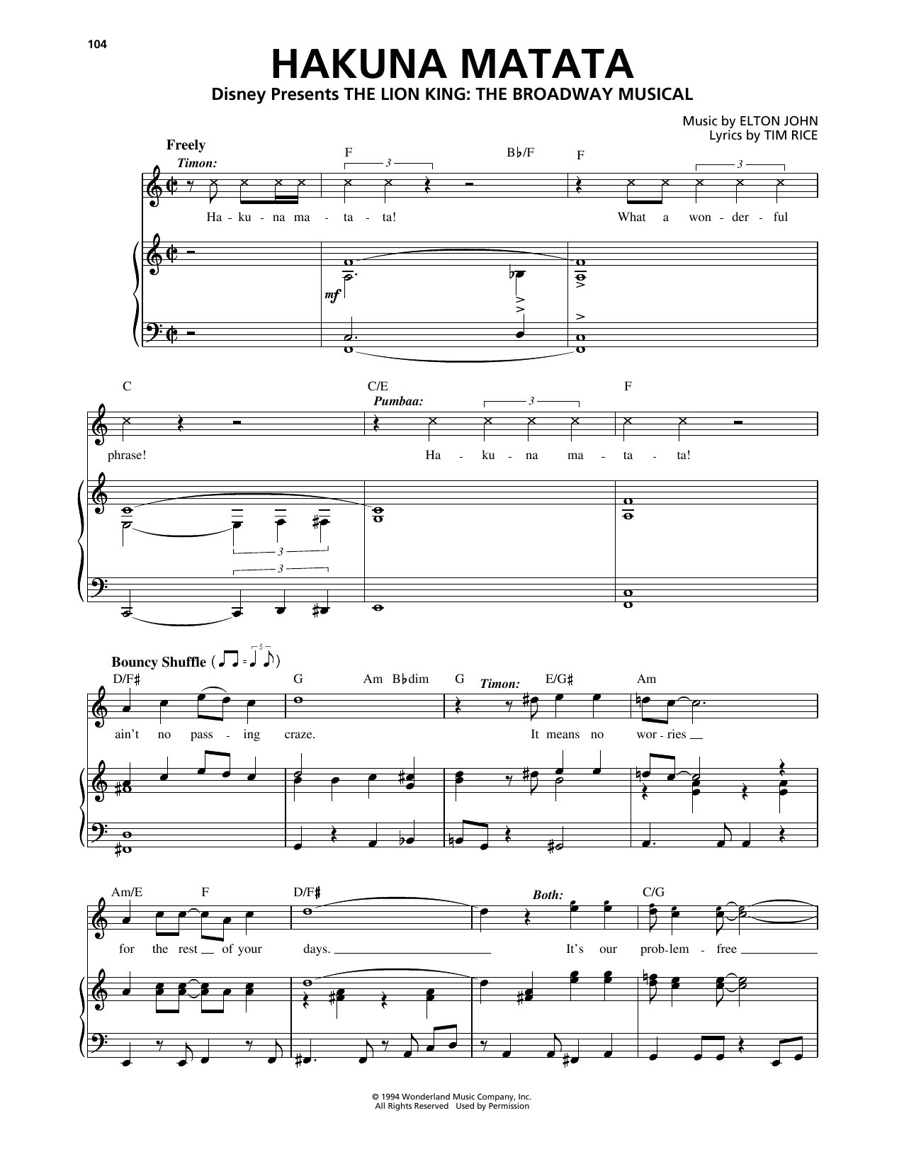 Elton John Hakuna Matata (from The Lion King: Broadway Musical) sheet music notes and chords. Download Printable PDF.