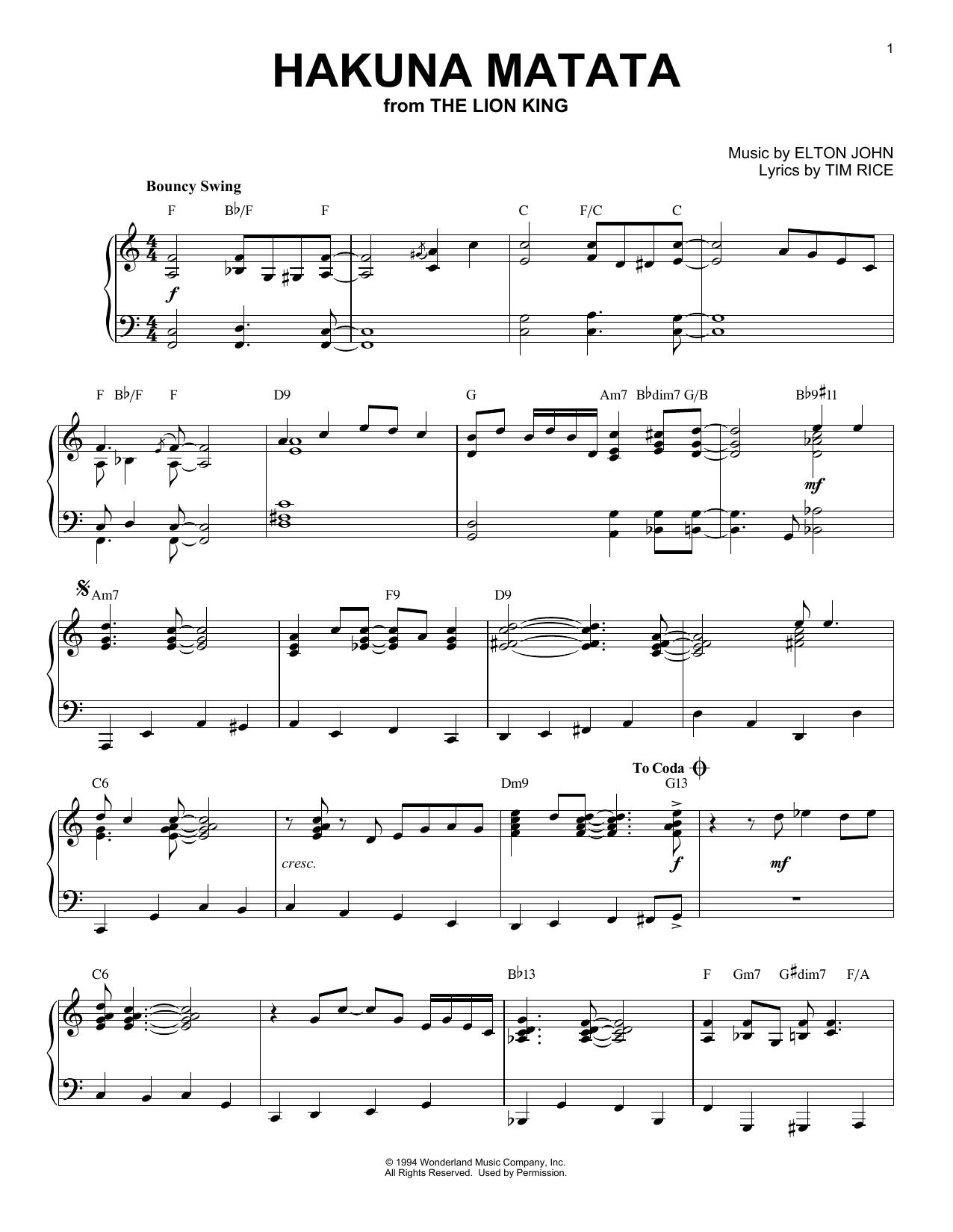 Elton John Hakuna Matata [Jazz version] (from Disney's The Lion King) sheet music notes and chords. Download Printable PDF.