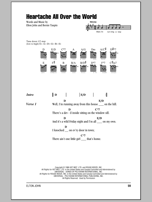 Elton John Heartache All Over The World sheet music notes and chords. Download Printable PDF.