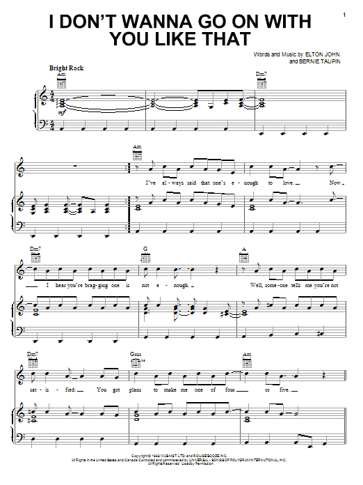 Elton John I Don't Wanna Go On With You Like That sheet music notes and chords. Download Printable PDF.