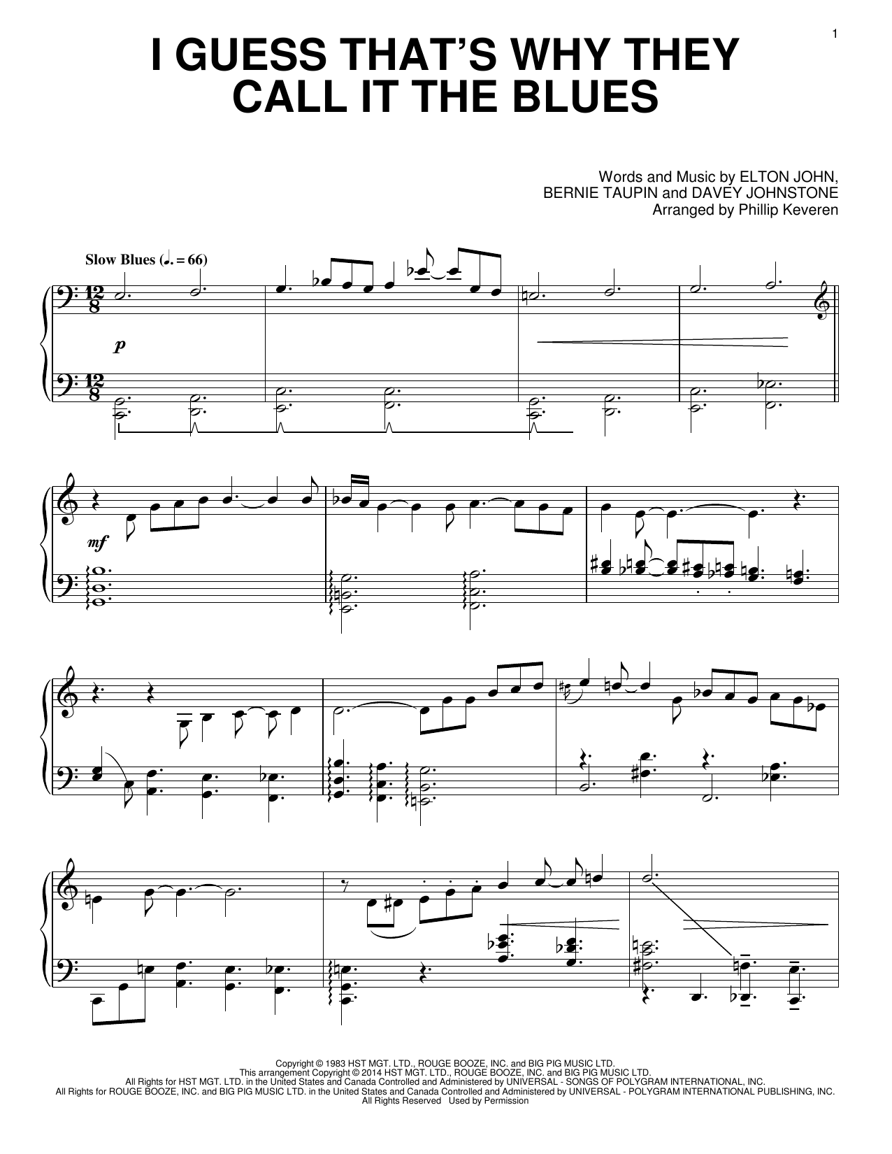 Elton John I Guess That's Why They Call It The Blues [Classical version] (arr. Phillip Keveren) sheet music notes and chords. Download Printable PDF.