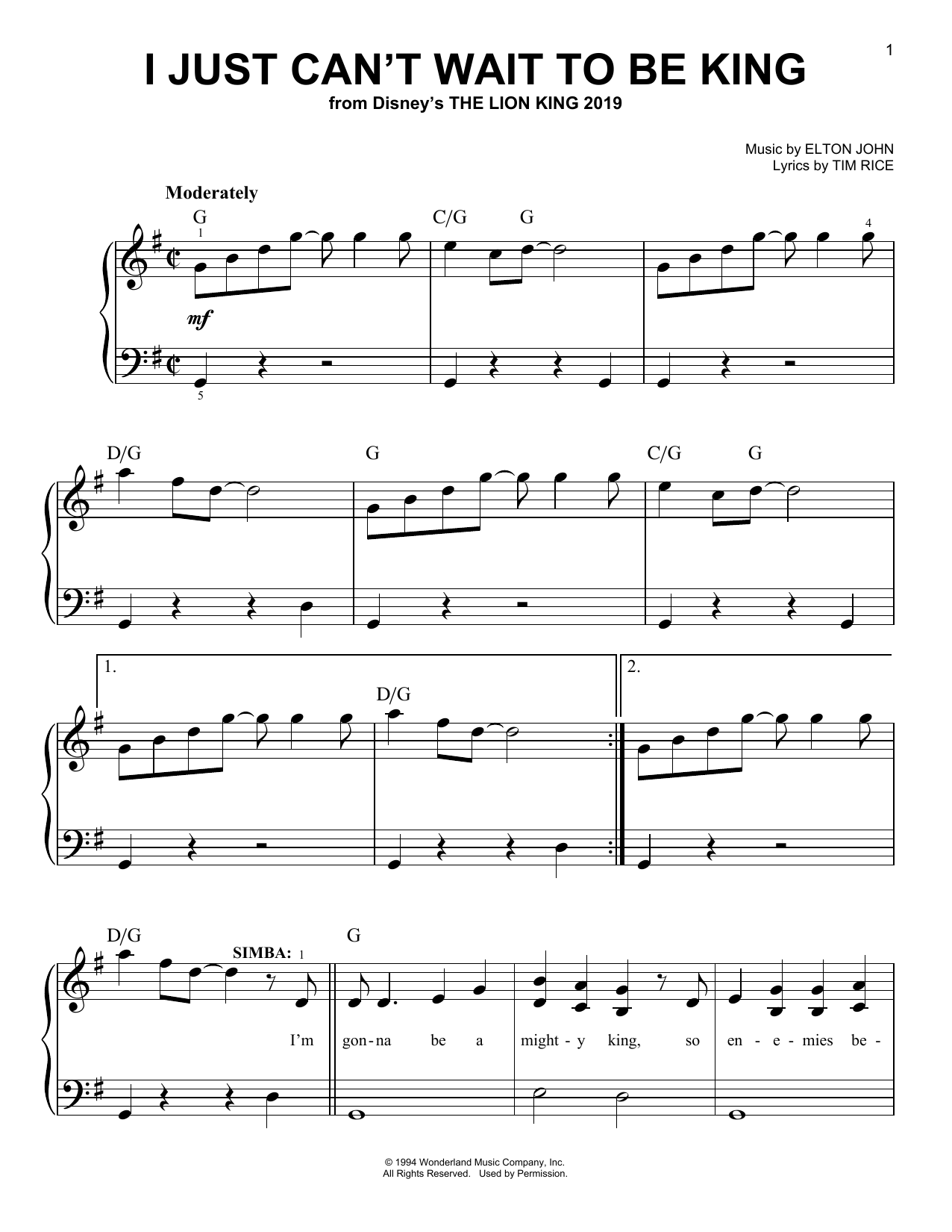 Elton John I Just Can't Wait To Be King (from The Lion King 2019) sheet music notes and chords