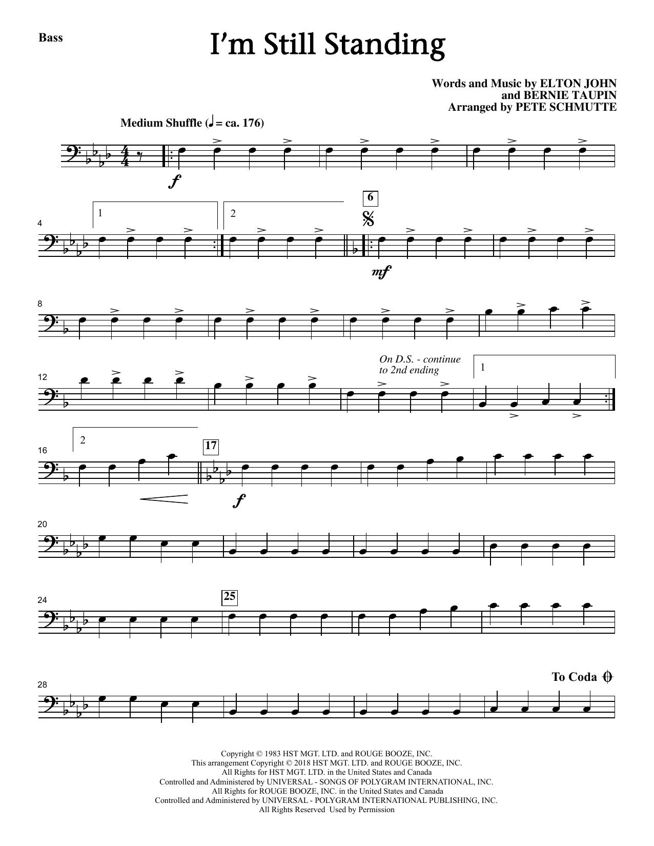 Elton John I'm Still Standing (arr. Pete Schmutte) - Bass sheet music notes and chords. Download Printable PDF.