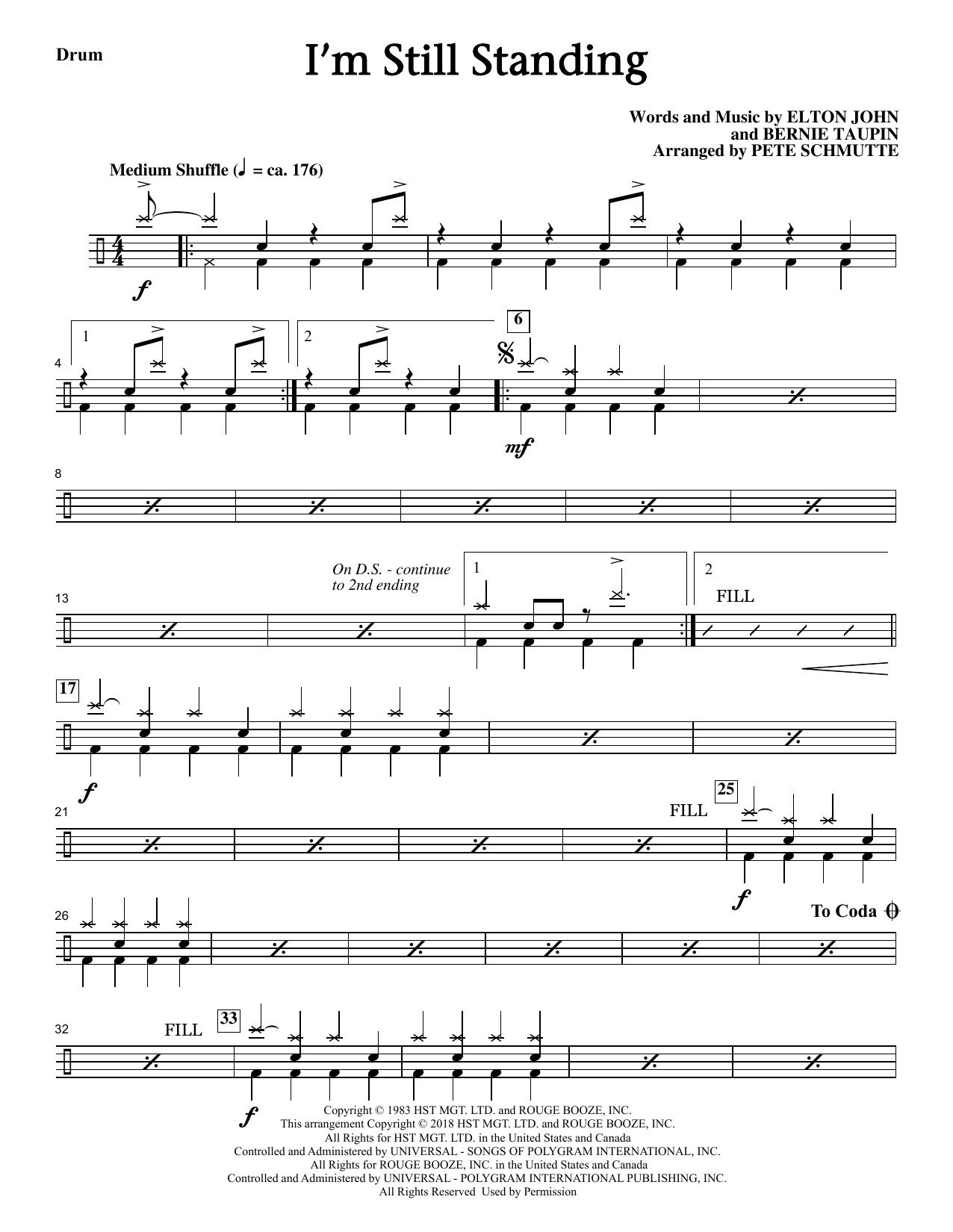 Elton John I'm Still Standing (arr. Pete Schmutte) - Drums sheet music notes and chords