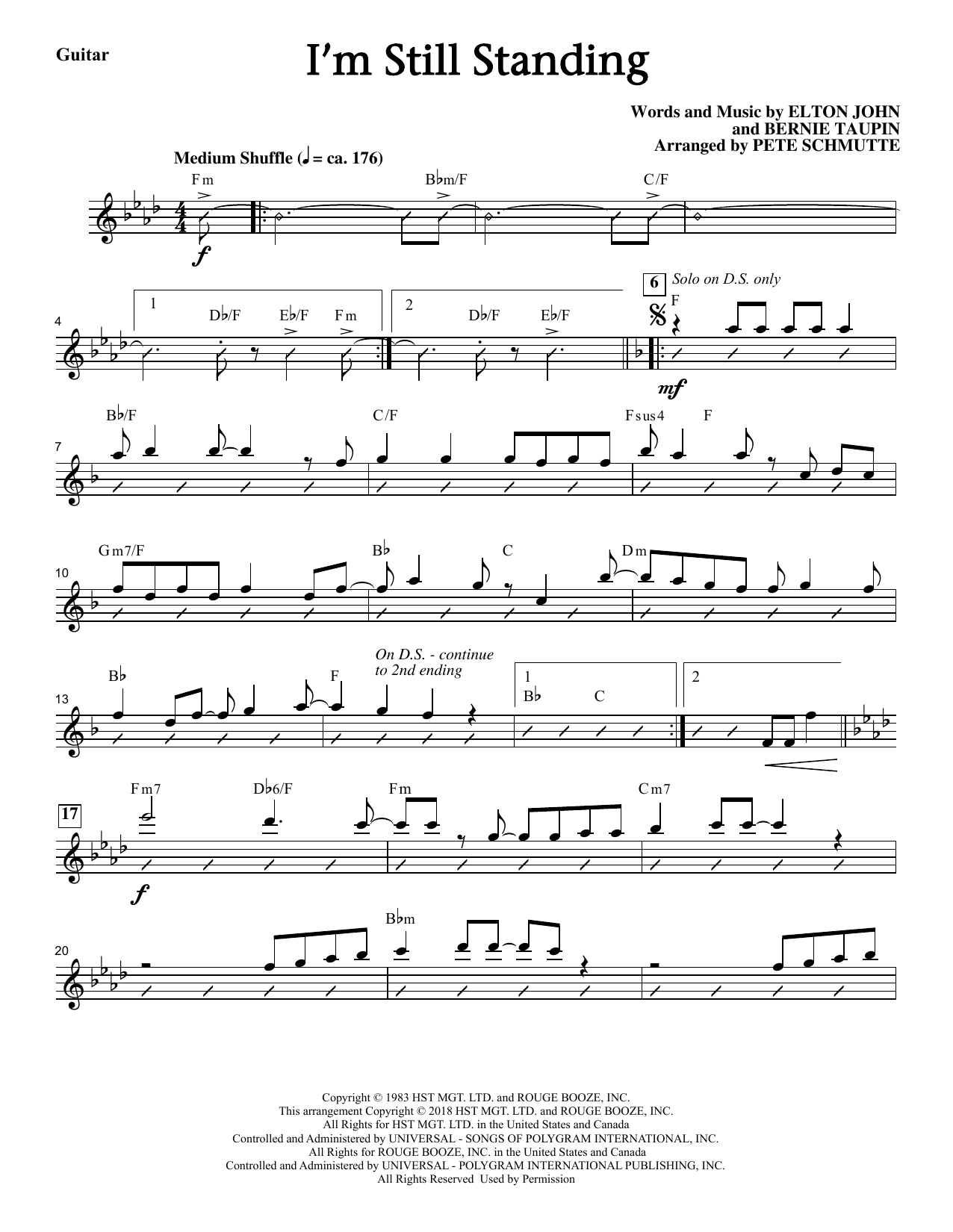 Elton John I'm Still Standing (arr. Pete Schmutte) - Guitar sheet music notes and chords