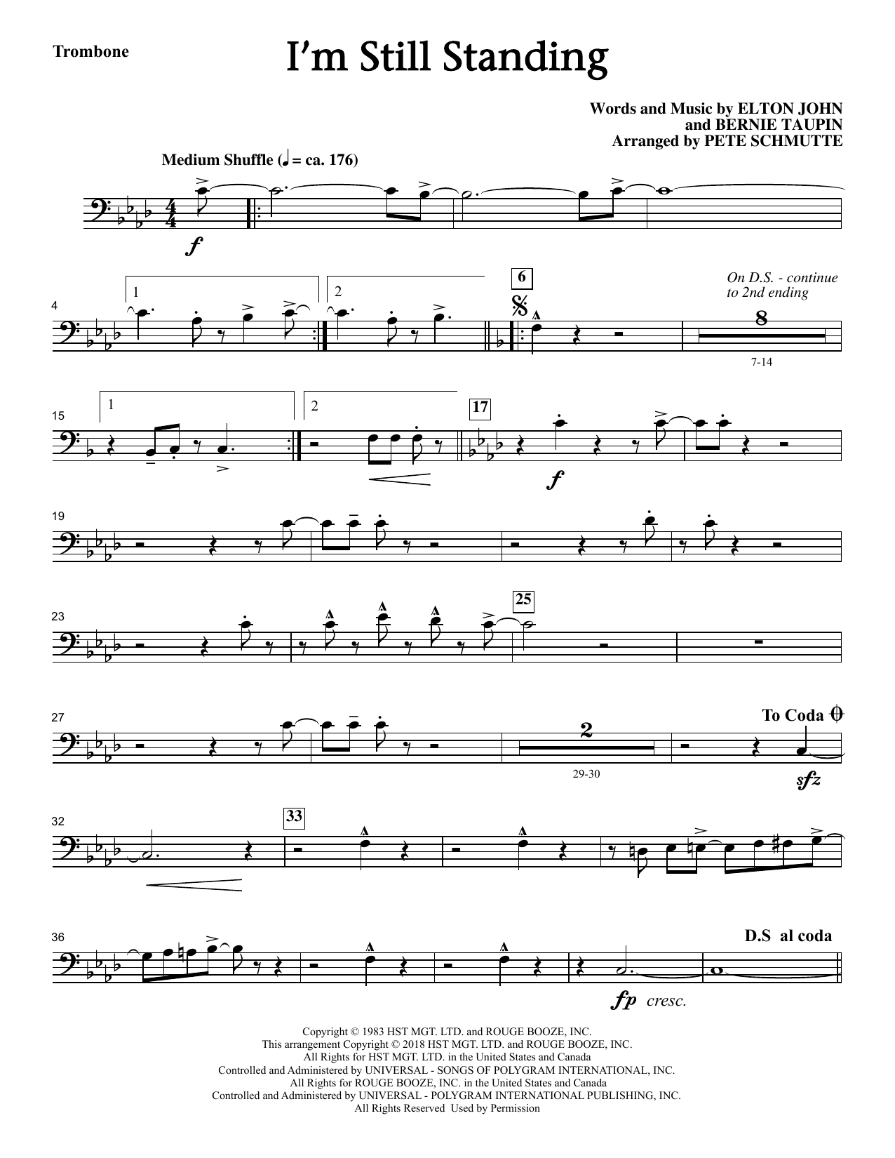 Elton John I'm Still Standing (arr. Pete Schmutte) - Trombone sheet music notes and chords. Download Printable PDF.