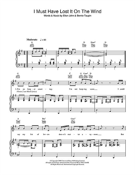 Elton John I Must Have Lost It On The Wind sheet music notes and chords. Download Printable PDF.