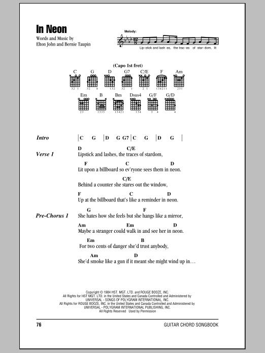 Elton John In Neon sheet music notes and chords. Download Printable PDF.