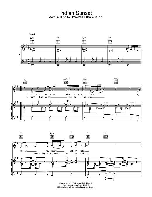 Elton John Indian Sunset sheet music notes and chords. Download Printable PDF.