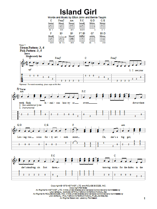Elton John Island Girl sheet music notes and chords. Download Printable PDF.