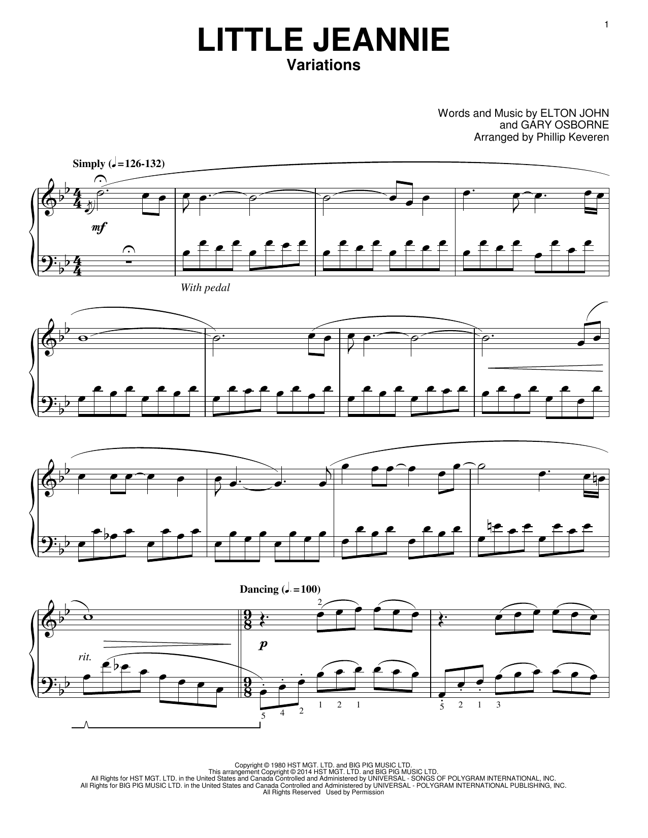 Elton John Little Jeannie [Classical version] (arr. Phillip Keveren) sheet music notes and chords. Download Printable PDF.