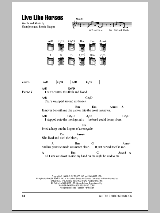 Elton John Live Like Horses sheet music notes and chords. Download Printable PDF.
