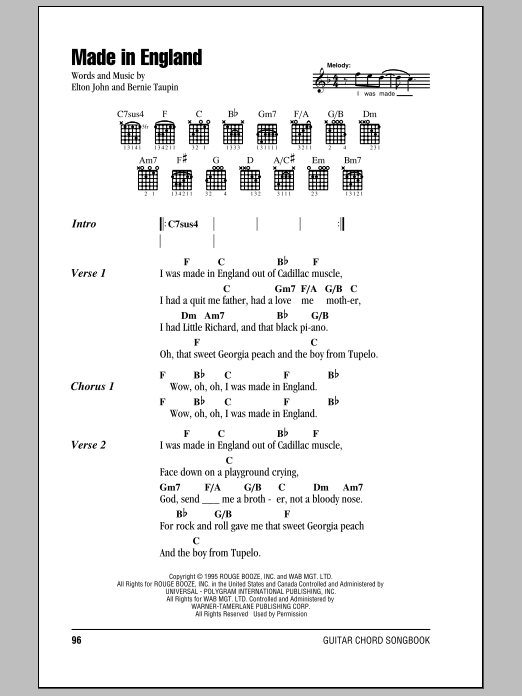 Elton John Made In England sheet music notes and chords. Download Printable PDF.
