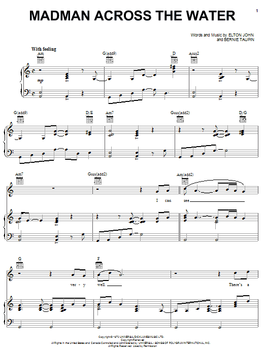 Elton John Madman Across The Water sheet music notes and chords. Download Printable PDF.
