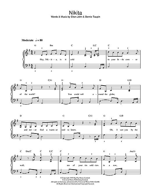 Elton John Nikita sheet music notes and chords. Download Printable PDF.