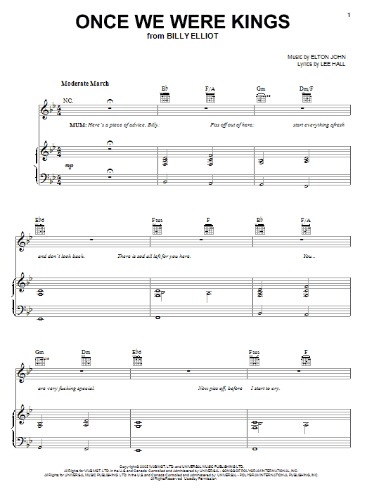 Elton John Once We Were Kings sheet music notes and chords. Download Printable PDF.