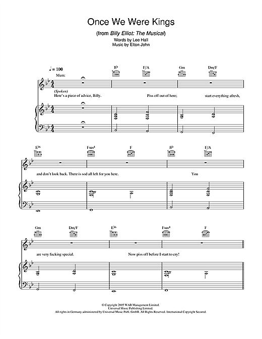 Elton John Once We Were Kings (from Billy Elliot: The Musical) sheet music notes and chords