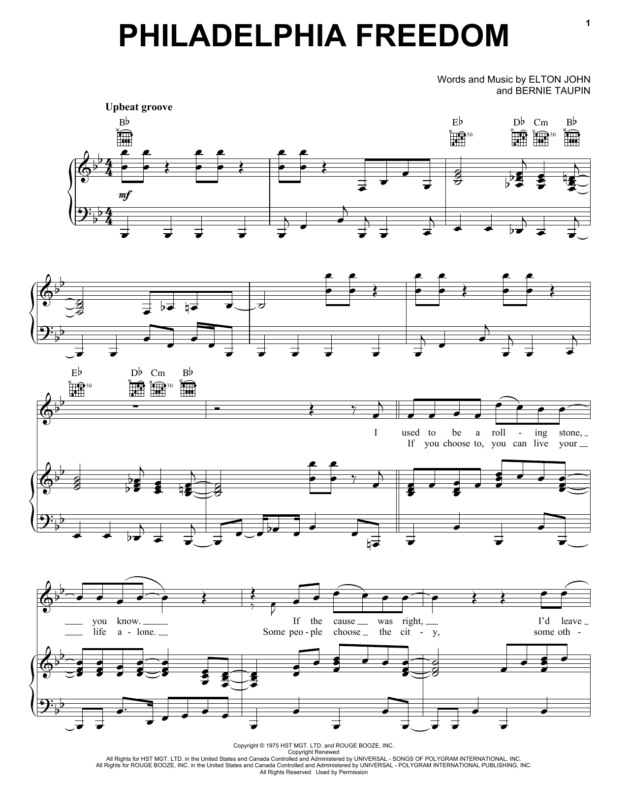 Elton John Philadelphia Freedom sheet music notes and chords. Download Printable PDF.