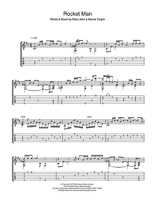 Elton John Rocket Man sheet music notes and chords. Download Printable PDF.