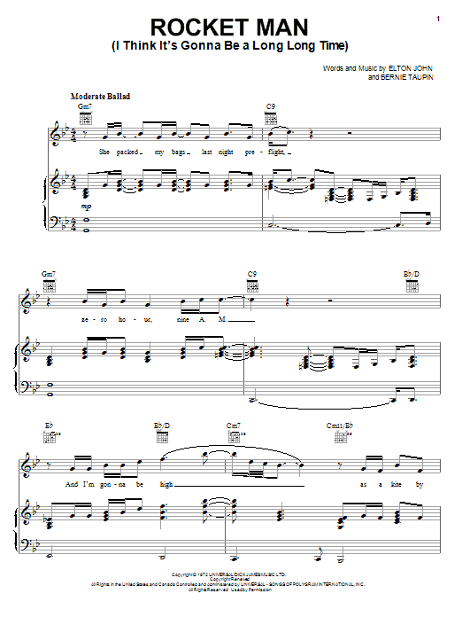 Elton John Rocket Man (I Think It's Gonna Be A Long Long Time) sheet music notes and chords. Download Printable PDF.