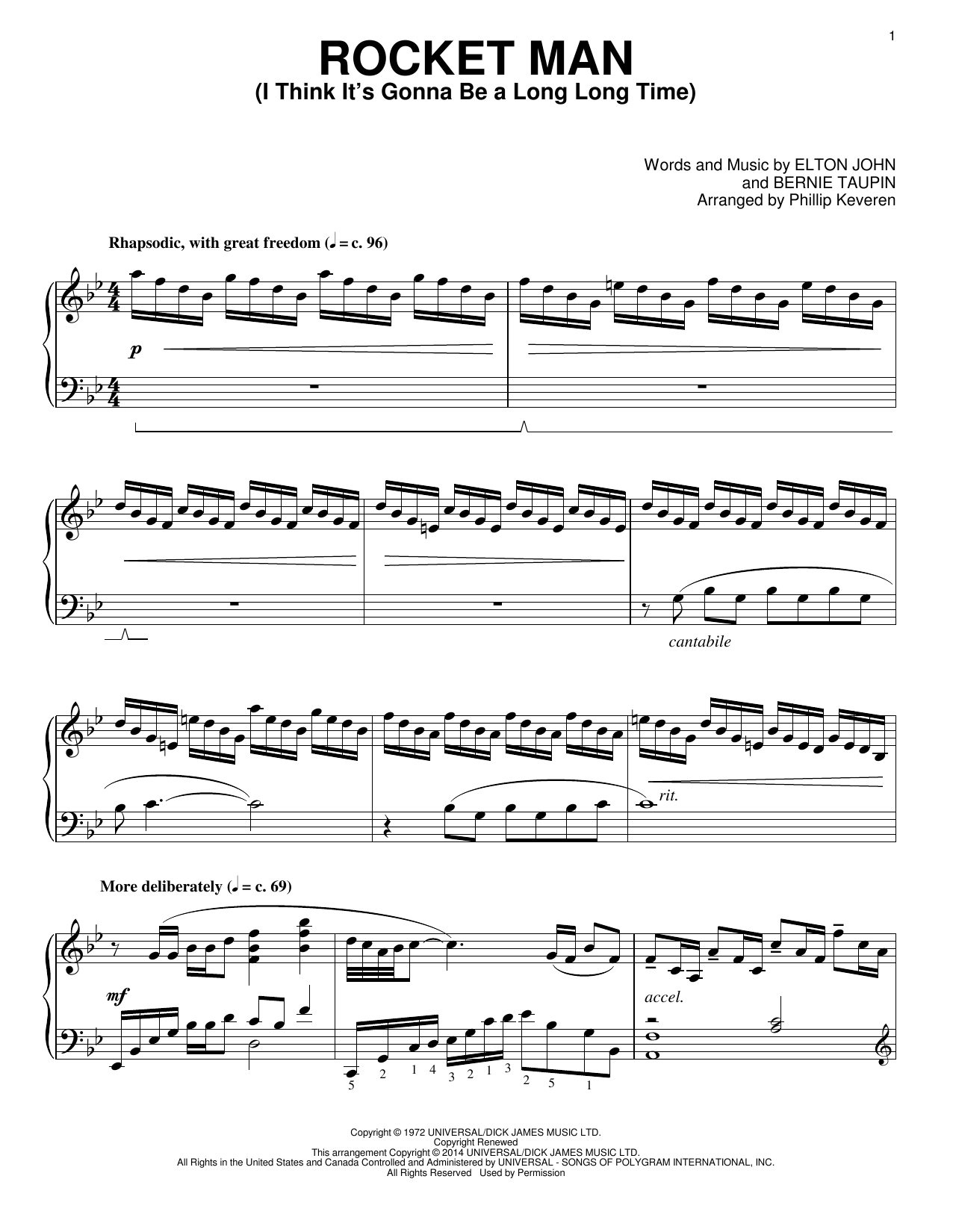 Elton John Rocket Man (I Think It's Gonna Be A Long Long Time) [Classical version] (arr. Phillip Keveren) sheet music notes and chords. Download Printable PDF.