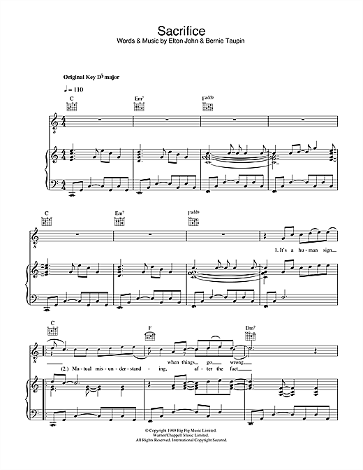 Elton John Sacrifice sheet music notes and chords. Download Printable PDF.