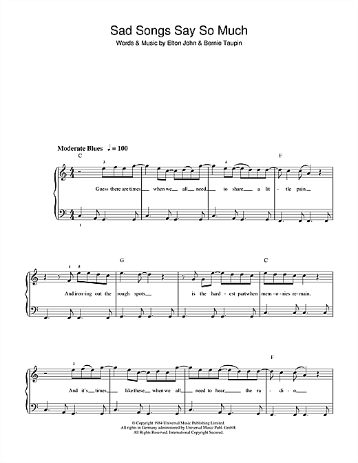 Elton John Sad Songs (Say So Much) sheet music notes and chords. Download Printable PDF.