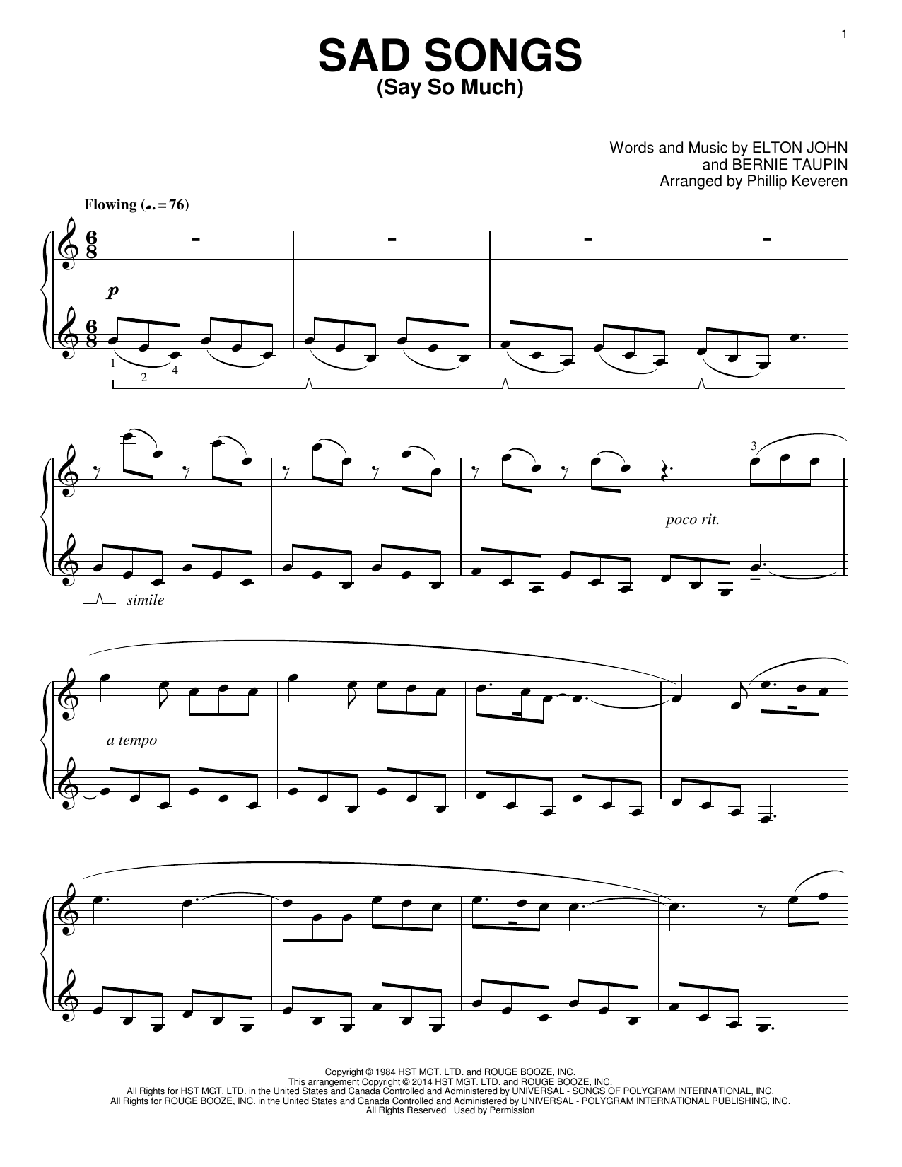 Elton John Sad Songs (Say So Much) [Classical version] (arr. Phillip Keveren) sheet music notes and chords. Download Printable PDF.