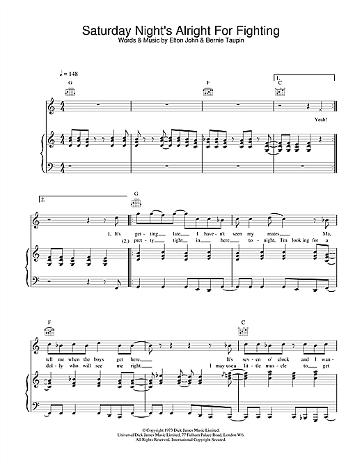 Elton John Saturday Night's Alright (For Fighting) sheet music notes and chords. Download Printable PDF.