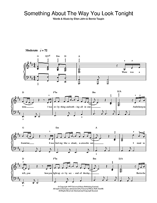 Elton John Something About The Way You Look Tonight sheet music notes and chords