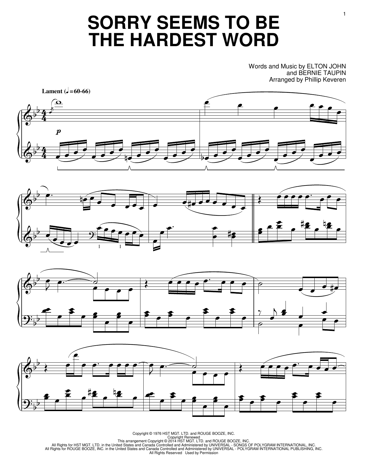 Elton John Sorry Seems To Be The Hardest Word [Classical version] (arr. Phillip Keveren) sheet music notes and chords. Download Printable PDF.