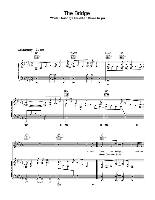 Elton John The Bridge sheet music notes and chords. Download Printable PDF.