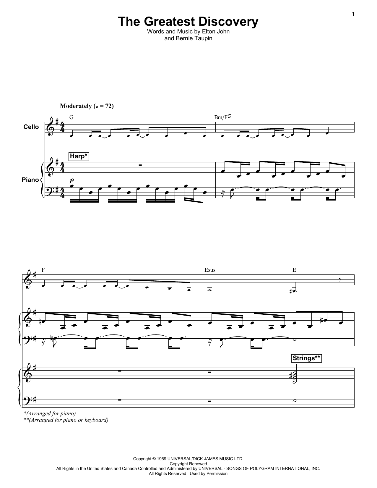 Elton John The Greatest Discovery sheet music notes and chords. Download Printable PDF.